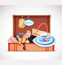 retro suitcase vacation luggage open realistic vector image vector image