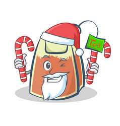 Santa tea bag character cartoon with candy vector