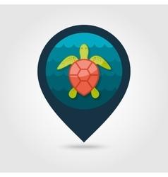 Sea turtle pin map icon summer vacation vector