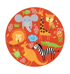 set of animals in round vector image vector image