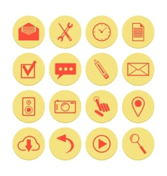 set of yellow icons for web and mobile vector image vector image