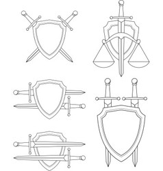 shield sword vector image vector image