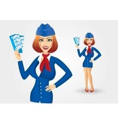Stewardess holding tickets vector