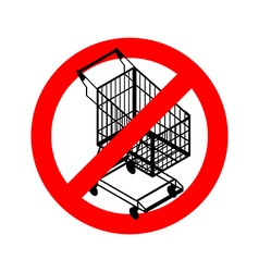 Stop shopping cart Prohibited shopping trolley vector image vector image