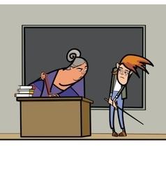 The teacher and schoolboy in school vector image vector image
