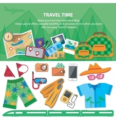 Travel time Flat style travel blog icon set vector image vector image