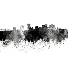 New orleans skyline in black watercolor on white vector