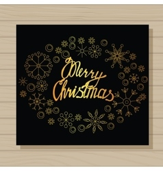 Merry Christmas card on wooden background vector image