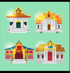 Thai asian temple collection set vector