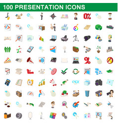 100 presentation icons set cartoon style vector