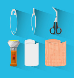 Set medical first aid kit to pharmacy urgency vector