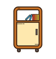 Flat color bookshelf icon vector