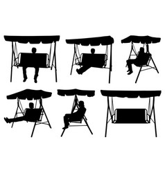 Set of different garden swings with people vector