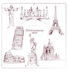 World landmark sketch vector