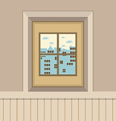 Buildings view through the window vector
