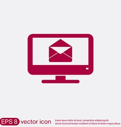 Monitor letter envelope mail icon vector