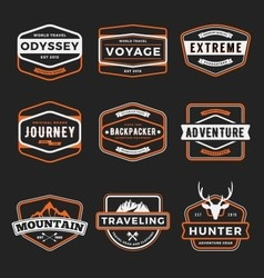 Set of badge logo outdoor adventure and traveling vector