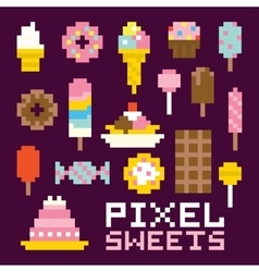 Pixel art isolated sweets set vector