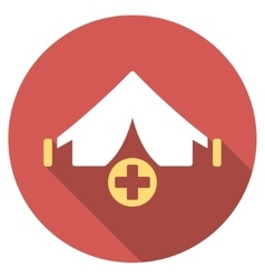 Field hospital flat round icon with long shadow vector