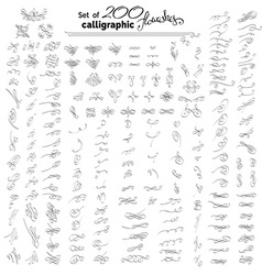 Set of more than 200 hand-drawn calligraphic vector