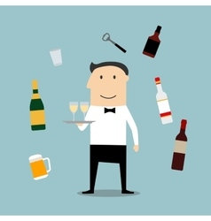 Restaurant waiter profession and drinks icons vector image
