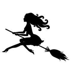 Beautiful halloween witch silhouette vector