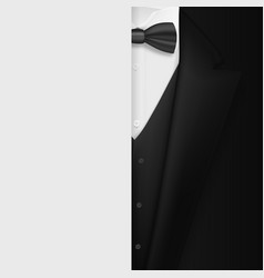 black suit with bowtie realistic mens tuxedo suit vector image vector image