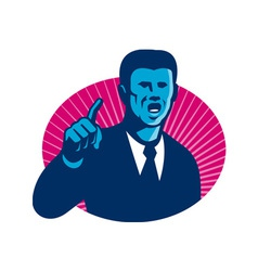 Blue businessman politician pointing retro vector
