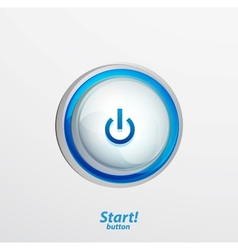 Blue start button vector image
