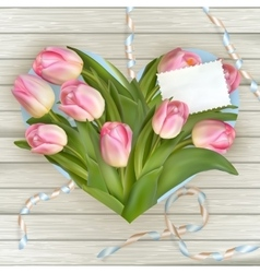 Bouquet of tulips on rustic wooden board EPS 10 vector image