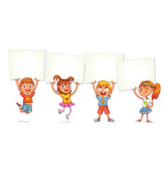 children are raised up placard vector image