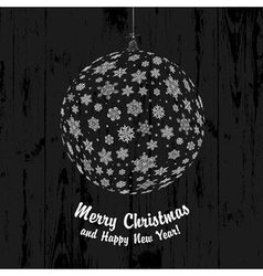 christmas ball on wooden texture vector image