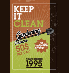 color vintage gardening services banner vector image vector image