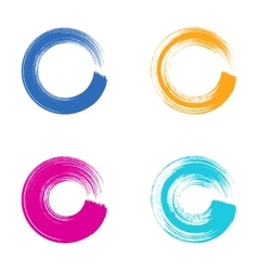 Colorful circle brush strokes vector image vector image