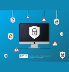 Computer shield and alert line icon internet vpn vector