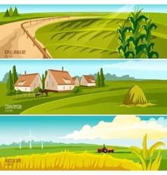 Countryside 3 horizontal flat banners set vector