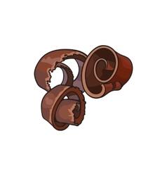 Dark chocolate shaving curl spiral for cake vector