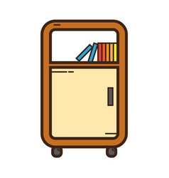 Flat color bookshelf icon vector