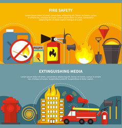 Flat firefighting banners vector