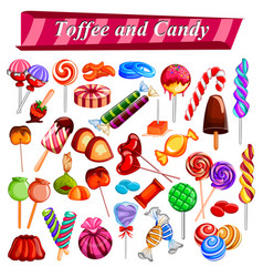 full collection of different colorful candy and vector image