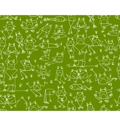 Funny frogs pattern sketch for your design vector