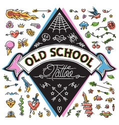 Funny old school tattoo set vector