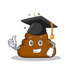 Graduation poop emoticon character cartoon vector