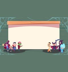 happy halloween trick or treat banner cute kids vector image vector image