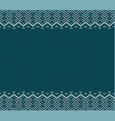 holiday knitted blue ornament design with empty vector image vector image