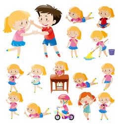 kids doing different activities vector image