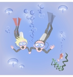 Man and woman together dive vector image