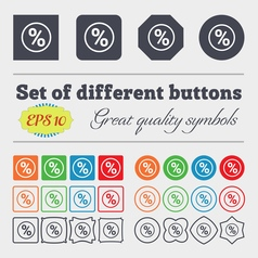 percentage discount icon sign Big set of colorful vector image vector image