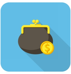 Purse and coin icon vector image vector image