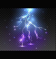 Realistic lightning on transparent background vector